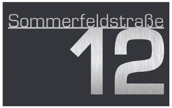 Frabox Hausnummernschild CONTOUR mit Straßennamen