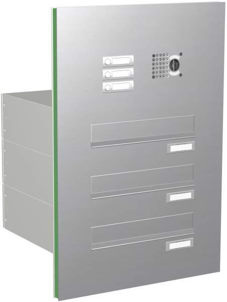 Briefkastenanlage Edelstahl Türseitenteil, gerade Kästen, Modell ET2V mit Video