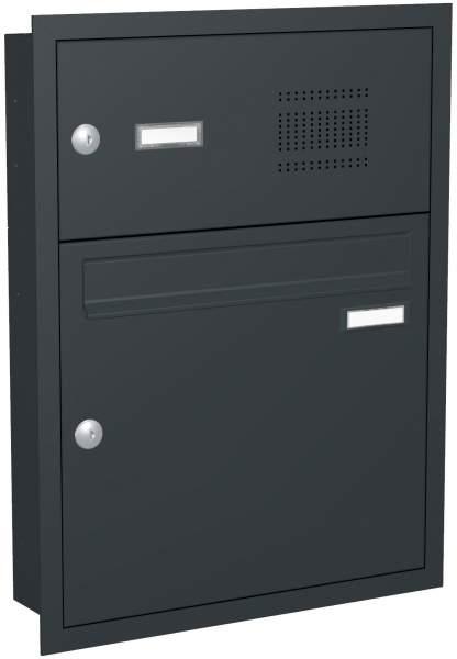 Briefkastenanlage Unterputz mit eckiger Verkleidung und Klingeln Modell U3