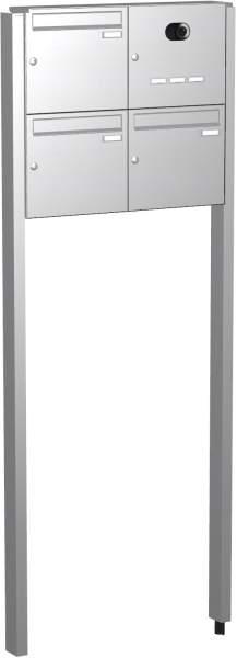 Briefkastenanlage Edelstahl, eckige Verkleidung Modell EF4 mit Video