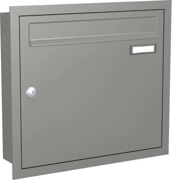 Briefkastenanlage Unterputz mit eckiger Verkleidung Modell U1 RAL: 9007 Graualuminium %