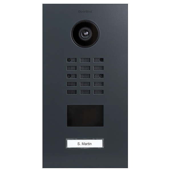 DoorBird IP Video Türstation D210xV RAL 7016 anthrazitgrau inklusive Unterputzgehäuse