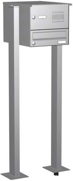 Briefkastenanlage in Edelstahl mit eckiger Verkleidung und Klingeln Modell EF2