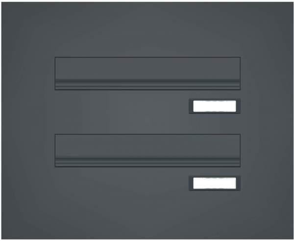 Briefkastenanlage Türseitenteil mit 2 geraden Kästen Modell T1 RAL: 7016 anthrazitgrau %