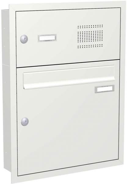 Briefkastenanlage Unterputz mit eckiger Verkleidung und Klingeln RAL 9016 %