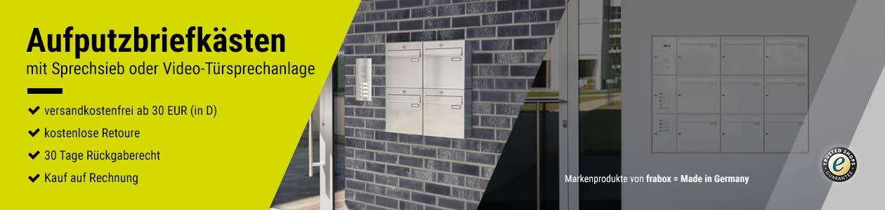 Aufputzbriefkästen mit Sprechsieb oder integrierter Video-Türsprechanlage