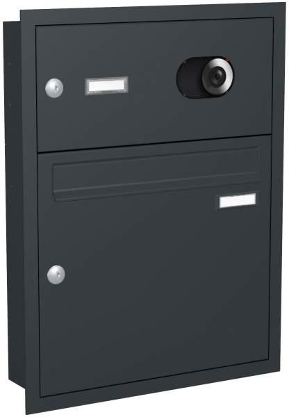 Briefkastenanlage Unterputz, eckige Verkleidung Modell U1V mit Video