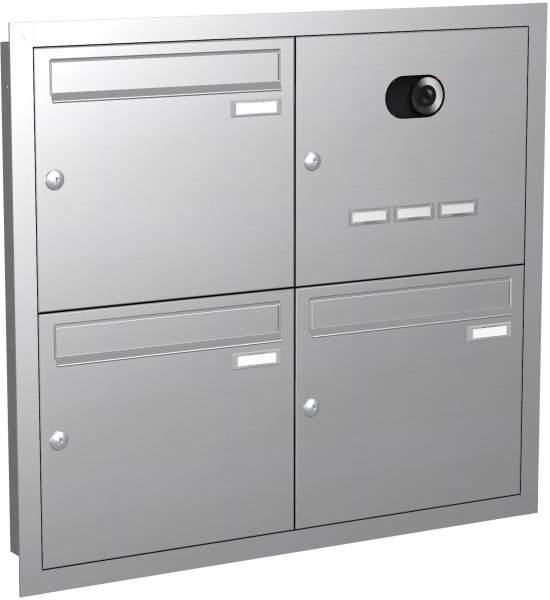 Briefkastenanlage Unterputz Edelstahl, eckige Verkleidung Modell EU2V mit Video
