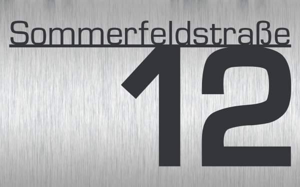 Frabox Edelstahl Hausnummernschild CONTOUR mit Straßennamen
