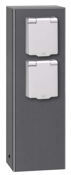 LCD Steckdosensäule 2-fach Typ 018 graphit (DB703)