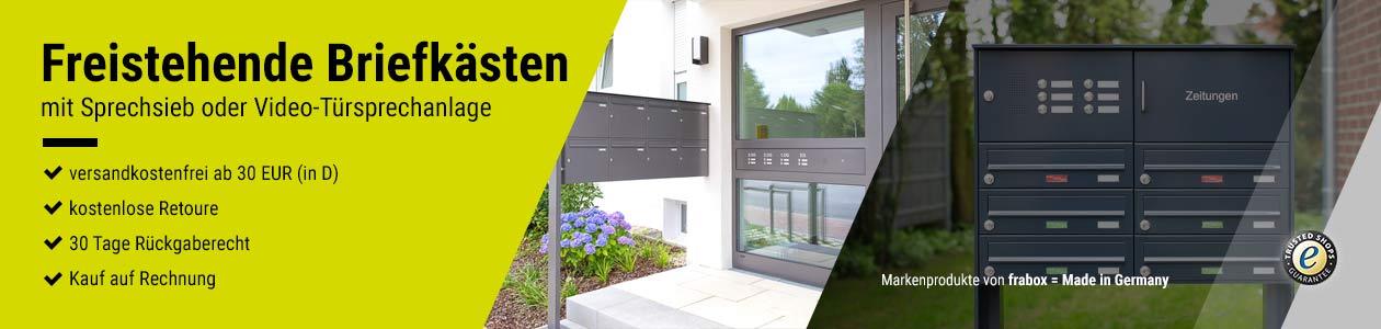 Freistehende Briefkästen mit Sprechsieb oder integrierter Video-Türsprechanlage