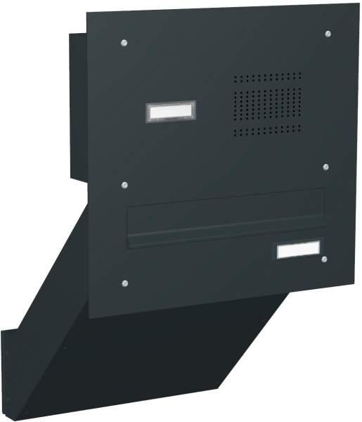 Briefkastenanlage Mauerdurchwurf mit gerader Frontplatte und Klingeln Modell M3