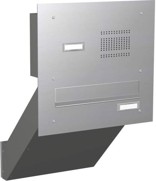 Briefkastenanlage Mauerdurchwurf in Edelstahl mit Klingeln Modell EM2