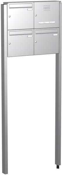 Briefkastenanlage Edelstahl mit eckiger Verkleidung Modell und Klingel EF4