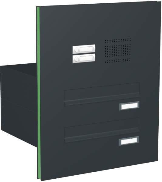 Briefkastenanlage Türseitenteil mit 2 Kästen und Klingeln Modell T2 RAL: 7016 anthrazitgrau %