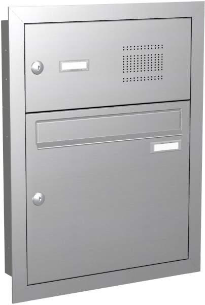Briefkastenanlage Unterputz in Edelstahl mit Klingeln Modell EU2