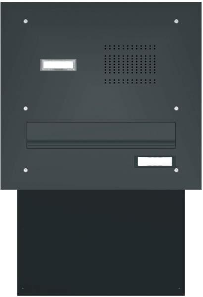 Mauerdurchwurf Briefkasten mit gerader Frontplatte und Klingeln Modell M3 Anthrazitgrau RAL: 7016 %