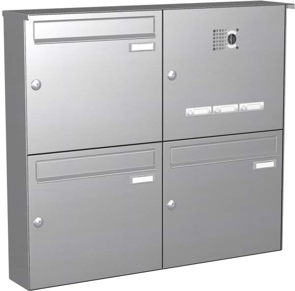 Briefkastenanlage Aufputz in Edelstahl, eckiger Verkleidung Modell EA2V mit Video