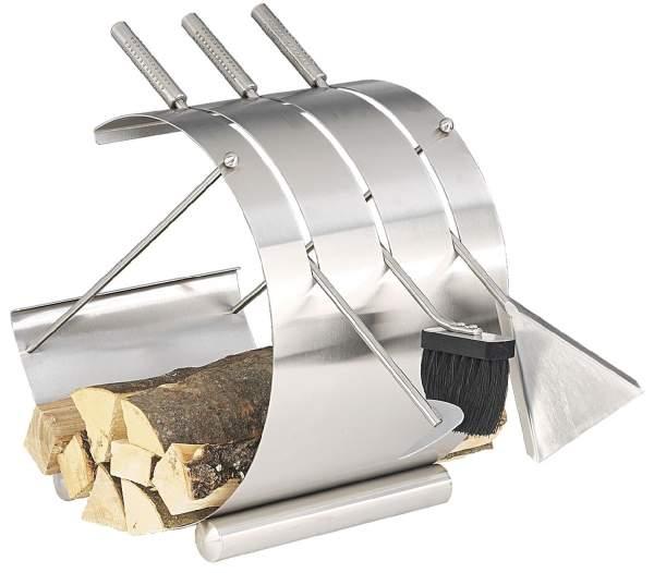 Edelstahl Kaminbesteck und Holzablage Rondo-1