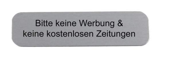 """Edelstahl-Namensschild """"Bitte keine Werbung & keine kostenlosen Zeitungen"""""""